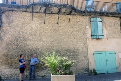 Mark makes friends with a local German who explains the style of wall of our B&B